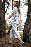 Женские летние льняные штаны кюлоты, свободные, на высокой талии. Серые, фото 2