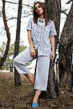 Женские летние льняные штаны кюлоты, свободные, на высокой талии. Серые, фото 3