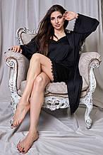 Жіночий комплект халата і нічної сорочки. Шовкові з чорним мереживом. Чорна