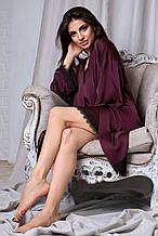 Женский комплект халата и ночной рубашки. Шелковые с черным кружевом. Марсала (сливовый)