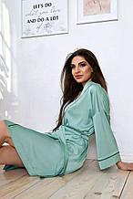 Женский легкий короткий шелковый халат выше колена. Бирюзовый (мята, голубой)