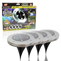 "Уличные фонари для сада ""Bell Howell Disk lights"" (4 шт) LED светильники на солнечной батарее, фото 1"