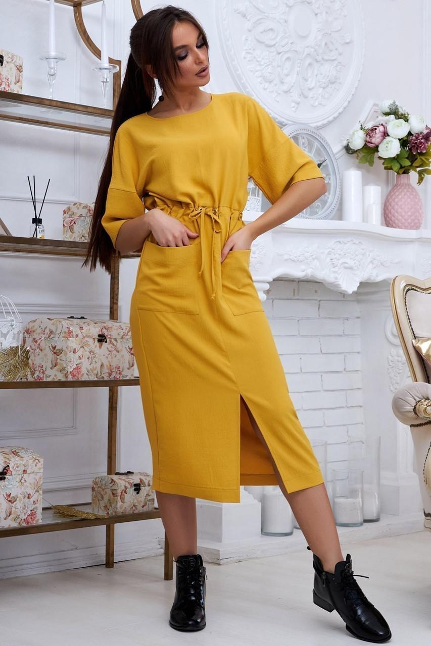 Женское летнее свободное платье ниже колена, с рукавами по локоть, с разрезом спереди.Желтое.Горчица