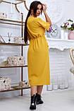 Женское летнее свободное платье ниже колена, с рукавами по локоть, с разрезом спереди.Желтое.Горчица, фото 2