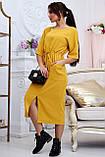 Женское летнее свободное платье ниже колена, с рукавами по локоть, с разрезом спереди.Желтое.Горчица, фото 3