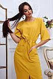Женское летнее свободное платье ниже колена, с рукавами по локоть, с разрезом спереди.Желтое.Горчица, фото 5