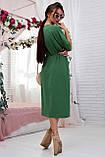 Женское летнее свободное платье ниже колена, с рукавами по локоть, с разрезом спереди. Зеленое, фото 2