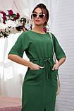 Женское летнее свободное платье ниже колена, с рукавами по локоть, с разрезом спереди. Зеленое, фото 5
