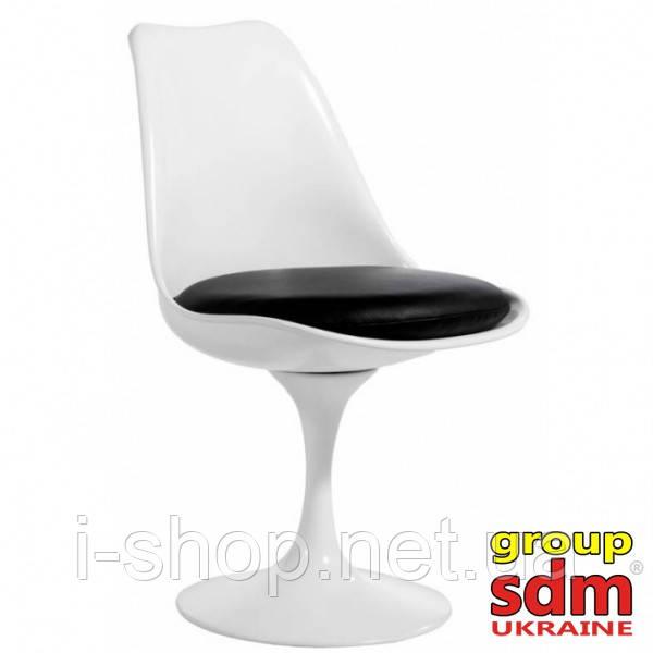 Стілець Тюльпан, пластик, колір білий, подушка чорного кольору