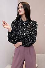 Женская блузка(блуза) с широкими, длинными рукавами, с воротником. В цветочек. Черная
