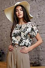 Женская блузка(блуза)с короткими рукавами. Просторная, свободная, воротник лодочка.С принтом.Бежевая