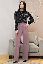 Женские деловые штаны на высокой талии, широкие. Сиреневые