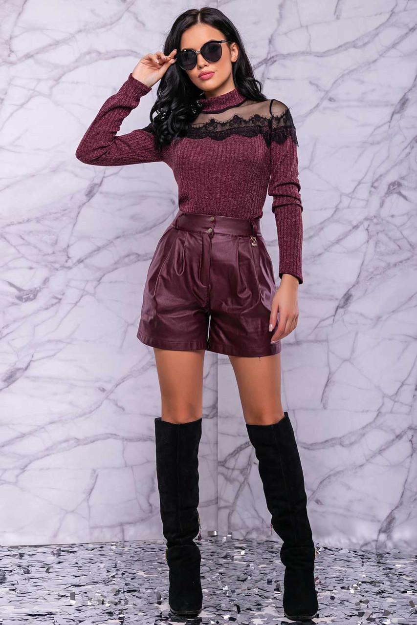 Жіночі шорти на високій талії з еко шкіри. Марсала, бордові, бордо