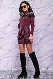 Жіночі шорти на високій талії з еко шкіри. Марсала, бордові, бордо, фото 6