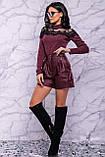 Жіночі шорти на високій талії з еко шкіри. Марсала, бордові, бордо, фото 8