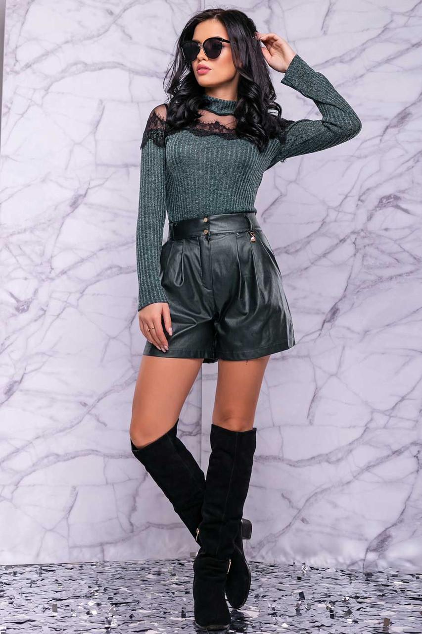Жіночі шорти на високій талії з еко шкіри. Смарагдові (зелені)