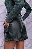 Жіночі шорти на високій талії з еко шкіри. Смарагдові (зелені), фото 4