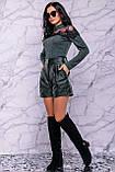 Жіночі шорти на високій талії з еко шкіри. Смарагдові (зелені), фото 6