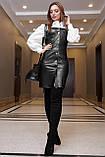 Женская сумка на затяжках из эко кожи и эко замши. Черный, фото 4