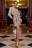 Бежевое трикотажное платье с люрексом выше колена мини, короткое. Нарядное. Летучая мышь. Золотое, фото 4