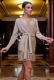 Бежевое трикотажное платье с люрексом выше колена мини, короткое. Нарядное. Летучая мышь. Золотое, фото 5