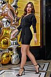 Трикотажное платье мини выше колена короткое с люрексом. Летучая мышь. Черное с блестками, фото 3