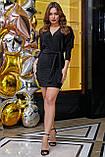 Трикотажное платье мини выше колена короткое с люрексом. Летучая мышь. Черное с блестками, фото 5