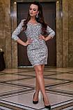 Трикотажное платье-футляр выше колена обтягивающее с пайетками, нарядное. Серое, серебряное, фото 5