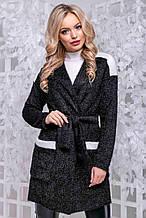 Кардиган по типу халата, кофты выше колена, с карманами и длинными рукавами. Ангора травка. Черный