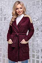 Кардиган по типу халата, кофты выше колена, с карманами и длинными рукавами. Ангора травка. Марсала