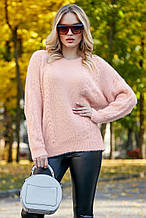 Жіночий джемпер, светр, вільний, пухнастий. Рожевий