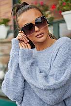 Жіночий джемпер, светр, вільний, пухнастий. Блакитний