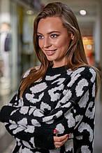 Жіночий джемпер, светр з малюнком. Оверсайз. Просторий.Універсальний розмір.Чорний
