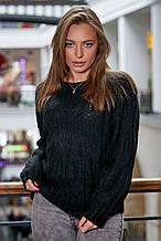 Жіночий светр, джемпер з великою в'язкою. Універсальний розмір. Оверсайз. Чорний