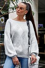 Жіночий светр з ромбами, з довгим рукавом і круглою горловиною. Теплий. Світло-сірий