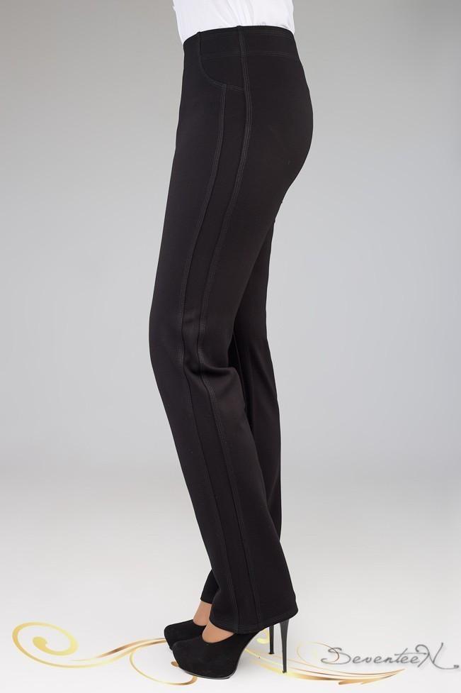 Батальные женские брюки с черными лампасами. Длинные. Офисные, деловые. Черные