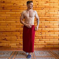Полотенце на липучке (килт-парео) вафельное 90х150 см бордовый