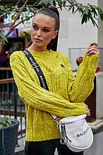 Жіночий светр, джемпер з великою в'язкою. Універсальний розмір. Оверсайз. Жовто-зелений