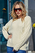 Жіночий джемпер, светр, вільний, пухнастий. Білий