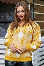 Жіночий светр з ромбами, з довгим рукавом і круглою горловиною. Теплий. Гірчичний