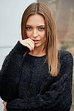 Жіночий джемпер, светр, вільний, пухнастий. Чорний