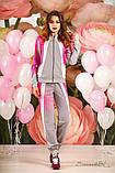 Женский трикотажный спортивный костюм с вставками. На молнии. Малиновый, розовый с серым, фото 3