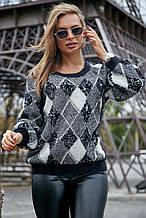 Жіночий светр з ромбами, з довгим рукавом і круглою горловиною. Теплий. Чорно-білий