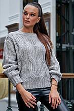 Жіночий светр, джемпер з великою в'язкою. Універсальний розмір. Оверсайз. Сірий