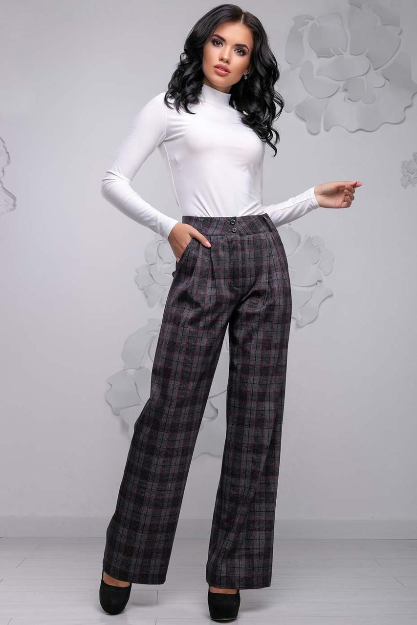 Женские широкие брюки с высокой талией, карманами и складочками. Клетчатые. Серые
