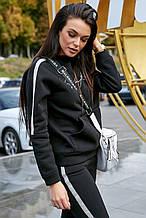 Женская толстовка черная с карманом. Черное кенгуру.
