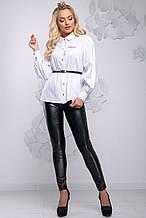Женская блузка(блуза) с воротником и манжетами, длинными широкими рукавами, на пуговицах. Белая