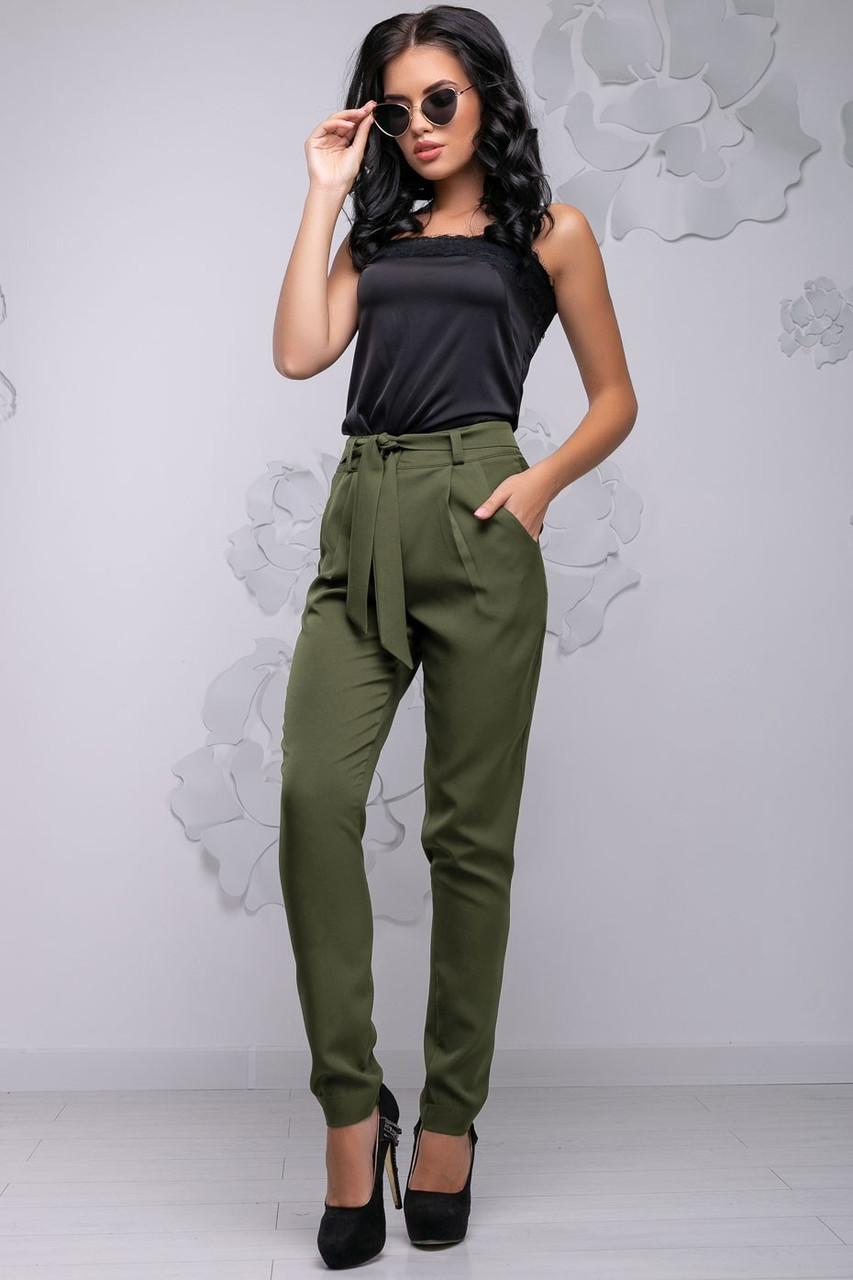 Женские брюки обтягивающие на высокой талии с карманами и поясом. Хаки