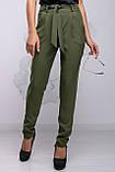 Женские брюки обтягивающие на высокой талии с карманами и поясом. Хаки, фото 4