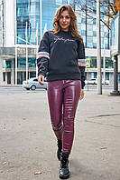 Женские леггинсы из эко кожи. Марсала, фиолетовые, бордовые, бордо